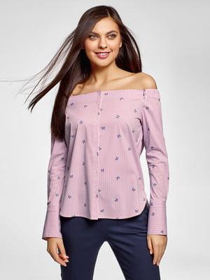 Блуза в полоску с принтом | 5571242