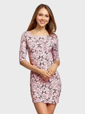 Сукня рожева з принтом | 5571263