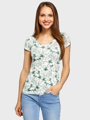 Футболка біло-зелена з квітковим принтом | 5571565
