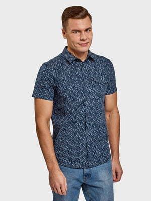 Рубашка синяя с принтом | 5571678