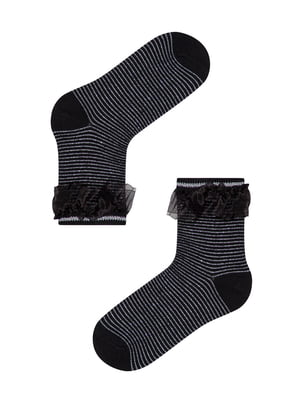 Шкарпетки чорні в смужку і з декором | 5573769