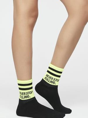 Шкарпетки чорні в смужку і принт | 5384439
