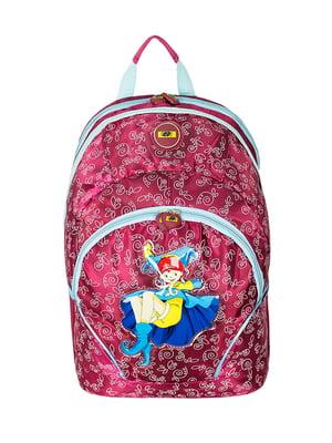 Рюкзак шкільний червоний в принт | 5573891