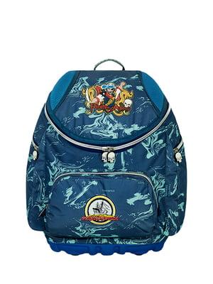Рюкзак школьный синий в принт | 5573893