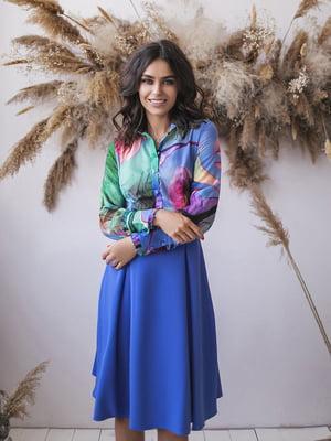 Сукня синя з принтом | 5574725