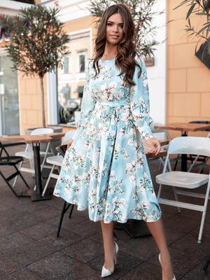 Сукня сіро-блакитна у принт   5574807