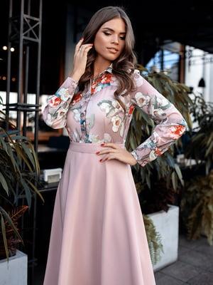 Сукня пудрового кольору з принтом | 5574810