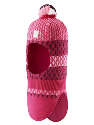Шапка-шолом малинового кольору в ромби | 5575373