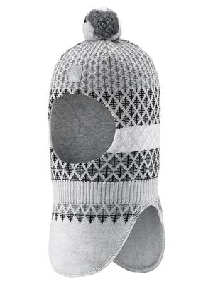 Шапка-шолом сіра в ромби | 5575375