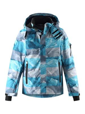 Куртка горнолыжная голубая с принтом | 5575526