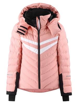 Куртка горнолыжная лососевого цвета в полоску | 5575547