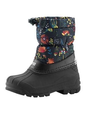 Полусапожки черные с цветочным принтом | 5575627