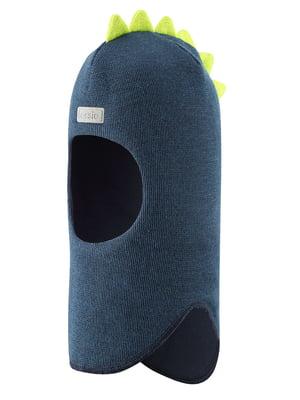 Шапка-шлем сине-салатового цвета | 5575701