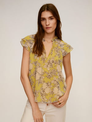 Блуза гірчичного кольору у принт   5508377