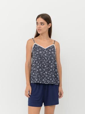 Майка пижамная синяя с цветочным принтом | 5551570