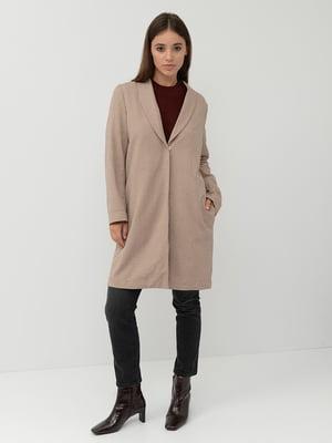 Пальто коричневе в «гусячу лапку» | 5551815