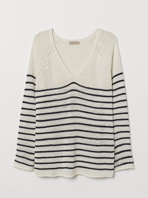 Пуловер білий в смужку | 5551882