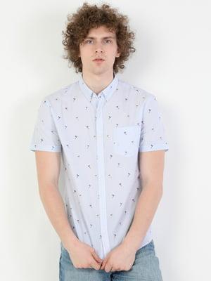 Рубашка синяя в принт | 5577396