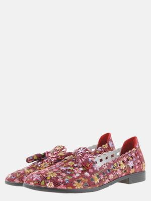Балетки бордовые с цветочным принтом | 5561212