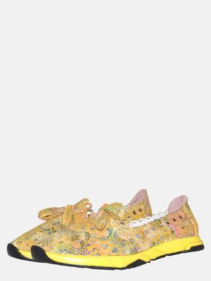 Балетки желтые с принтом   5561249