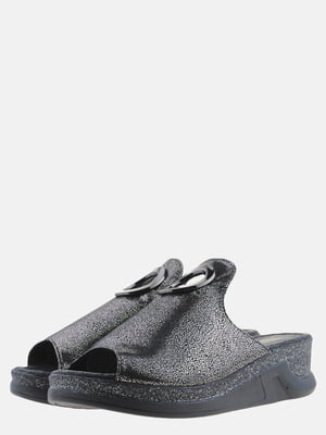 Шлепанцы черно-серебристые | 5577872