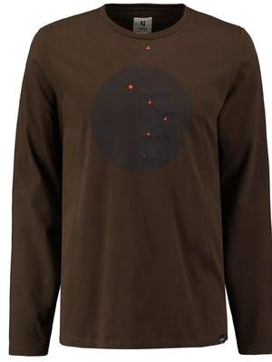 Лонгслив коричневый с принтом | 5577938