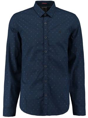 Рубашка синяя с принтом+ | 5577941