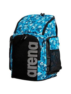 Рюкзак черно-голубой с принтом | 5576007