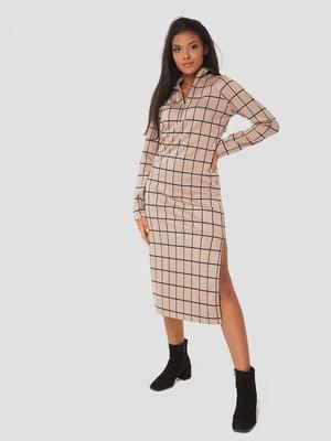 Платье бежевое в клетку | 5578697