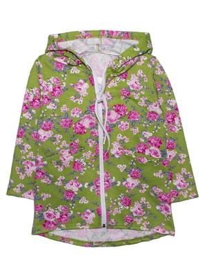 Кофта оливкового цвета в цветочный принт | 5579790