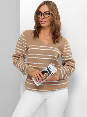 Пуловер бежевий в смужку | 5579815