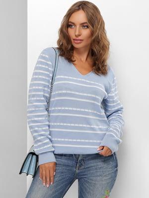 Пуловер блакитний в смужку | 5579816