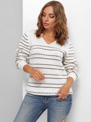 Пуловер молочного кольору в смужку | 5579817
