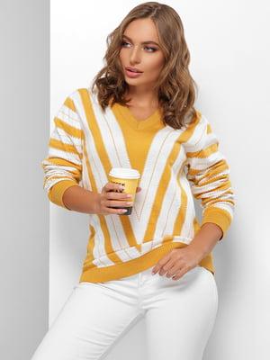 Пуловер молочно-горчичного цвета в полоску | 5579822