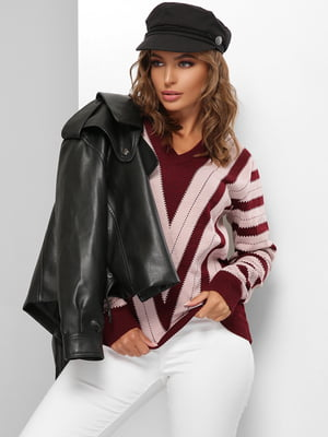 Пуловер рожево-бордовий в смужку | 5579823