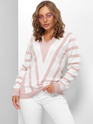 Пуловер розово-молочного цвета в полоску | 5579824