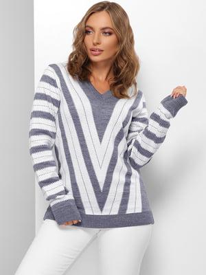 Пуловер сине-молочного цвета в полоску | 5579825