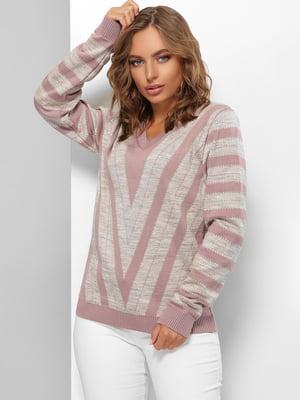 Пуловер розово-кофейного цвета в полоску | 5579827