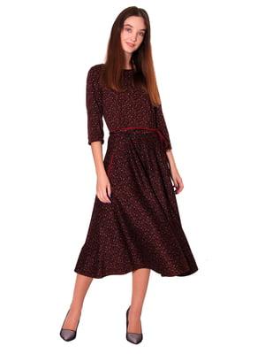 Сукня коричнева у принт | 5579965