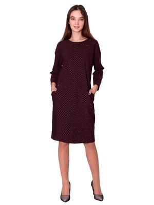 Платье бордовое в полоску | 5579966