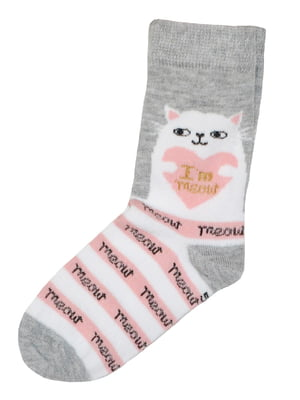 Шкарпетки сірі з принтом | 5582186