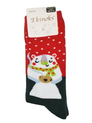 Шкарпетки червоні з принтом | 5582189