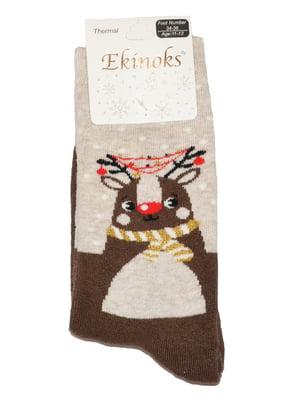 Носки коричневые с принтом | 5582190