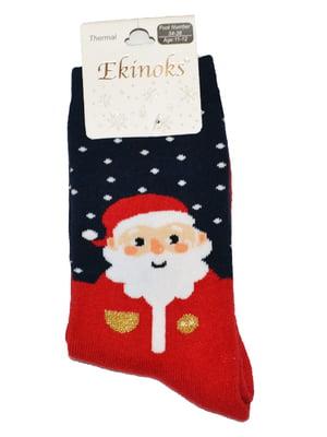 Шкарпетки червоні з принтом | 5582191