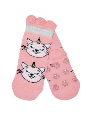 Шкарпетки рожеві з принтом | 5582207