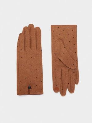 Перчатки коричневые в горошек | 5582110