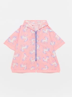 Дождевик розовый с принтом | 5582882
