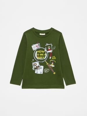 Лонгслів зелений з принтом   5582966