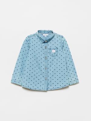 Рубашка голубая в горошек | 5583204