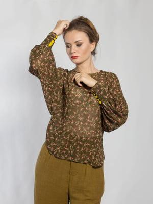 Блуза болотного цвета в цветочный принт | 5583884